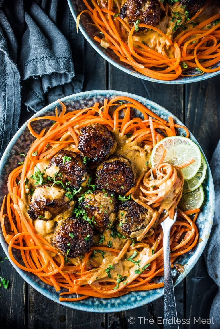 Thai Chicken Curry Meatballs With Carrot Noodles | The Endless Meal
