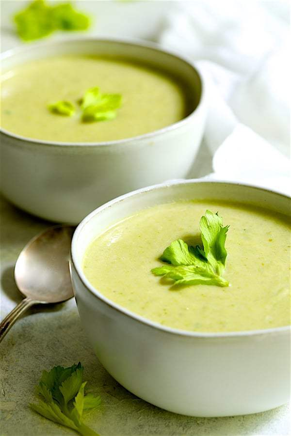 Cream of Celery Leaf and Scallion Soup