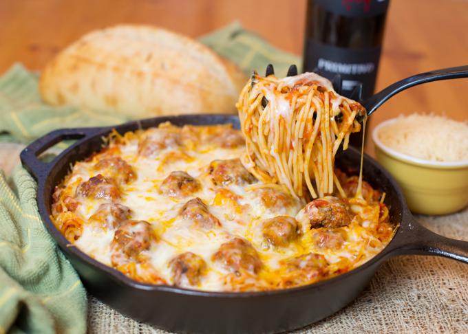 Ground Beef: Baked Spaghetti & Meatballs