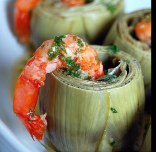 Shrimp Cocktail In An Artichoke