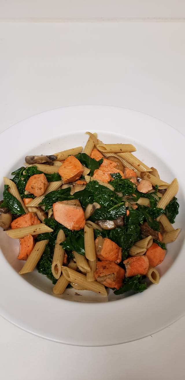 Salmon and Pasta with Kale and Mushrooms