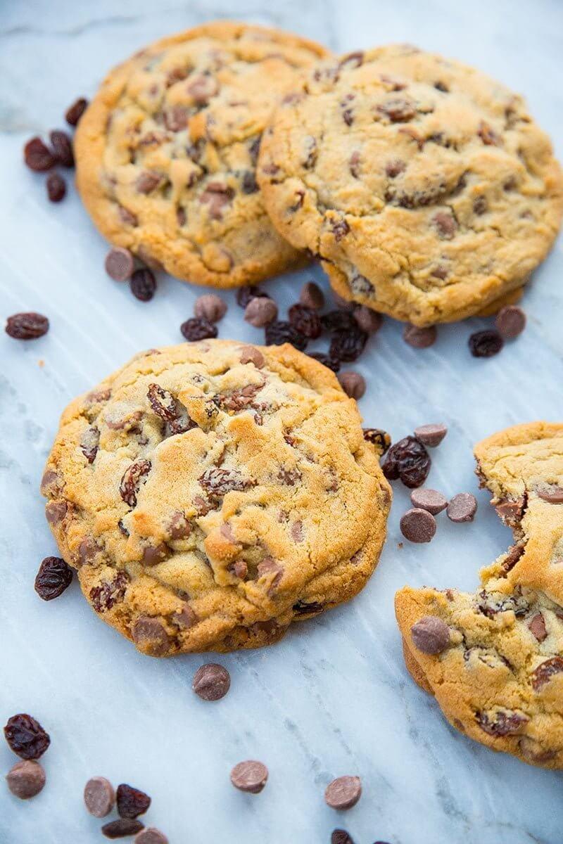 Milk Chocolate Chip Cookies with Raisins   The Kitchen Magpie