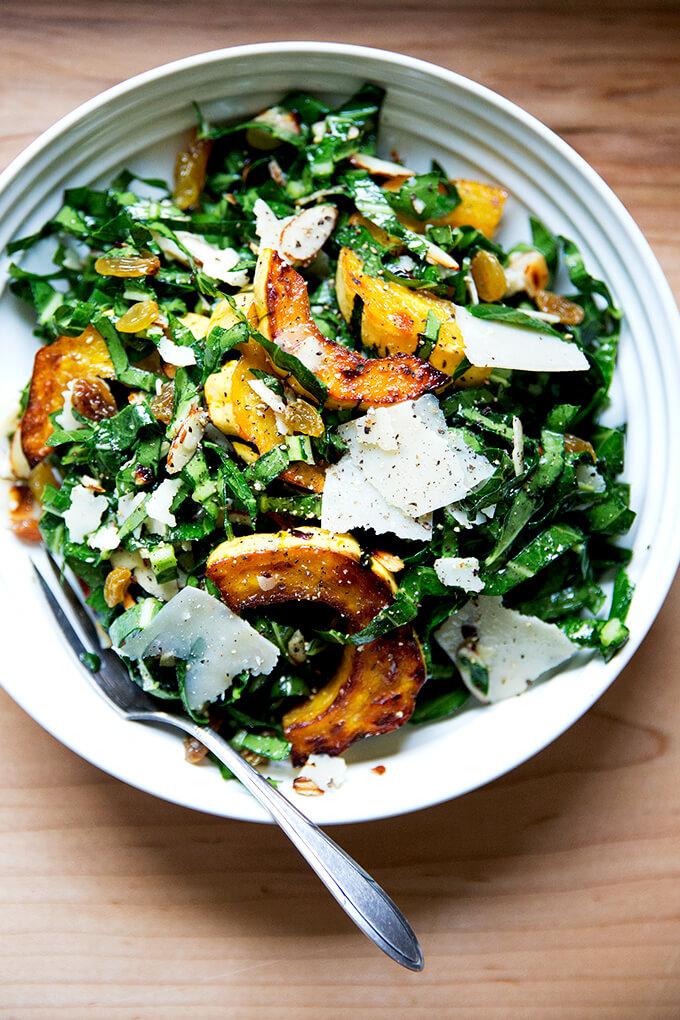 Raw Collard Greens Salad with Delicata Squash | Alexandra's Kitchen