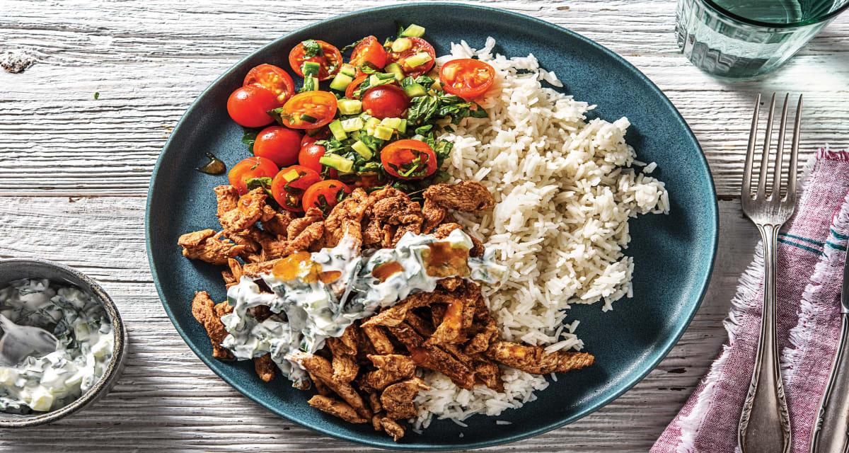 Chicken Tikka & Garlic Rice With Cherry Tomato Salad Recipe | Hellofresh