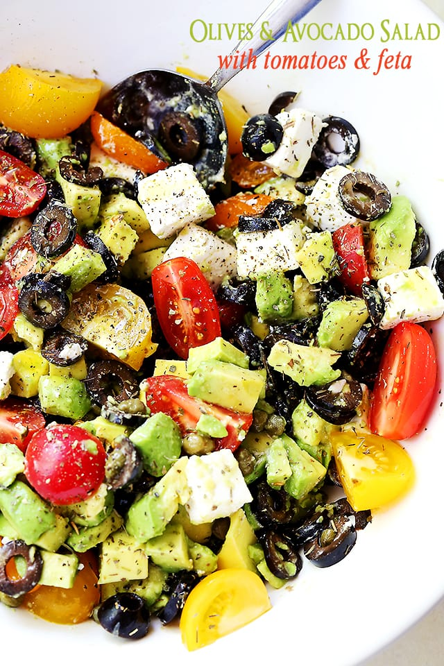 Olives, Avocado Salad with Tomatoes and Feta Cheese