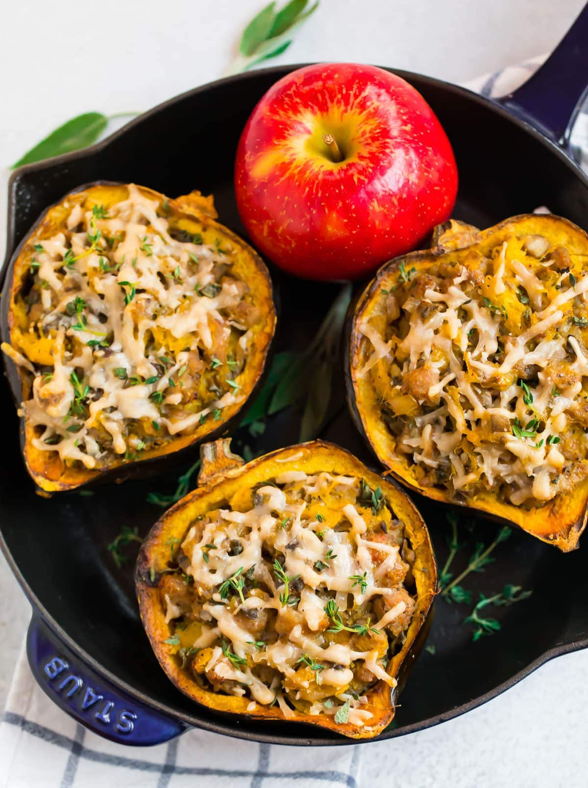 Sausage Stuffed Acorn Squash With Apples And Mushrooms