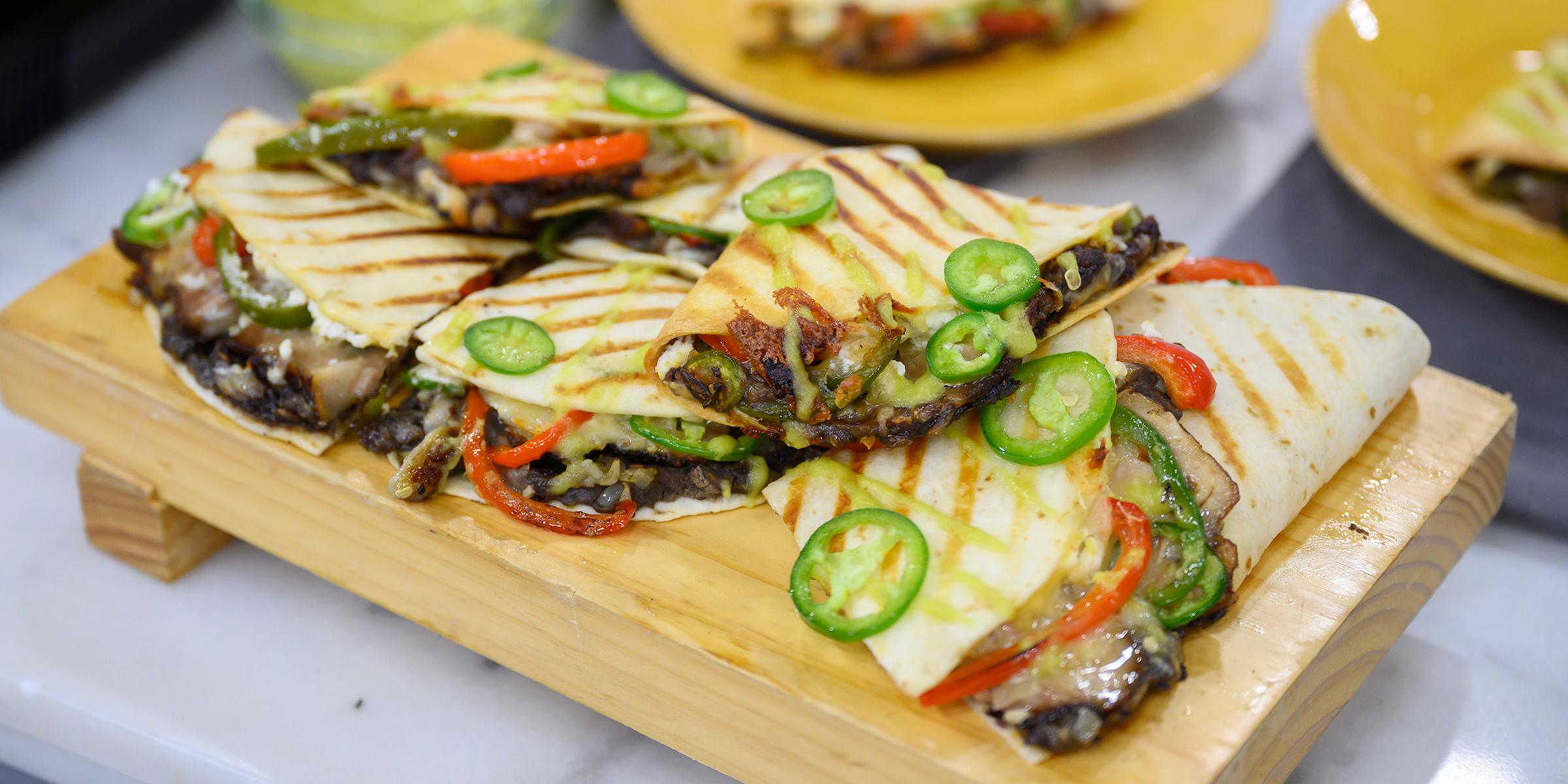 Quesadillas w/ Creamy Goat Cheese And Tender Braised Pork