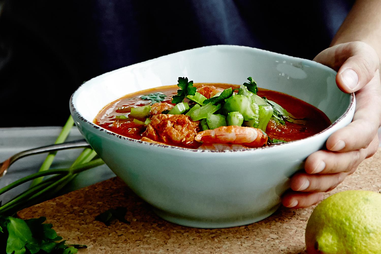 Spicy Tomatsuppe Med Rejer Og Laks