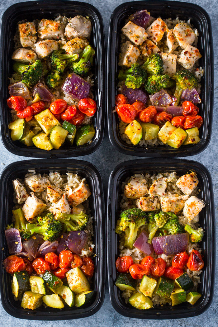 Meal Prep - Healthy Chicken and Veggies Chili Lime Chicken and Rice Meal Prep Bowls