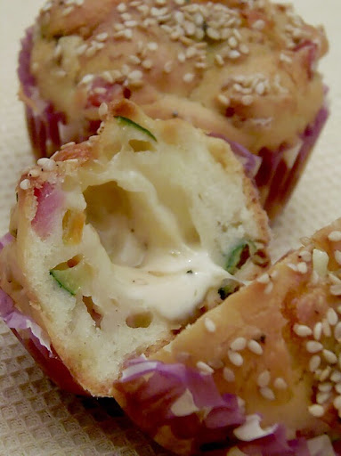Muffins Salati Con Prosciutto, Zucchine & Provola