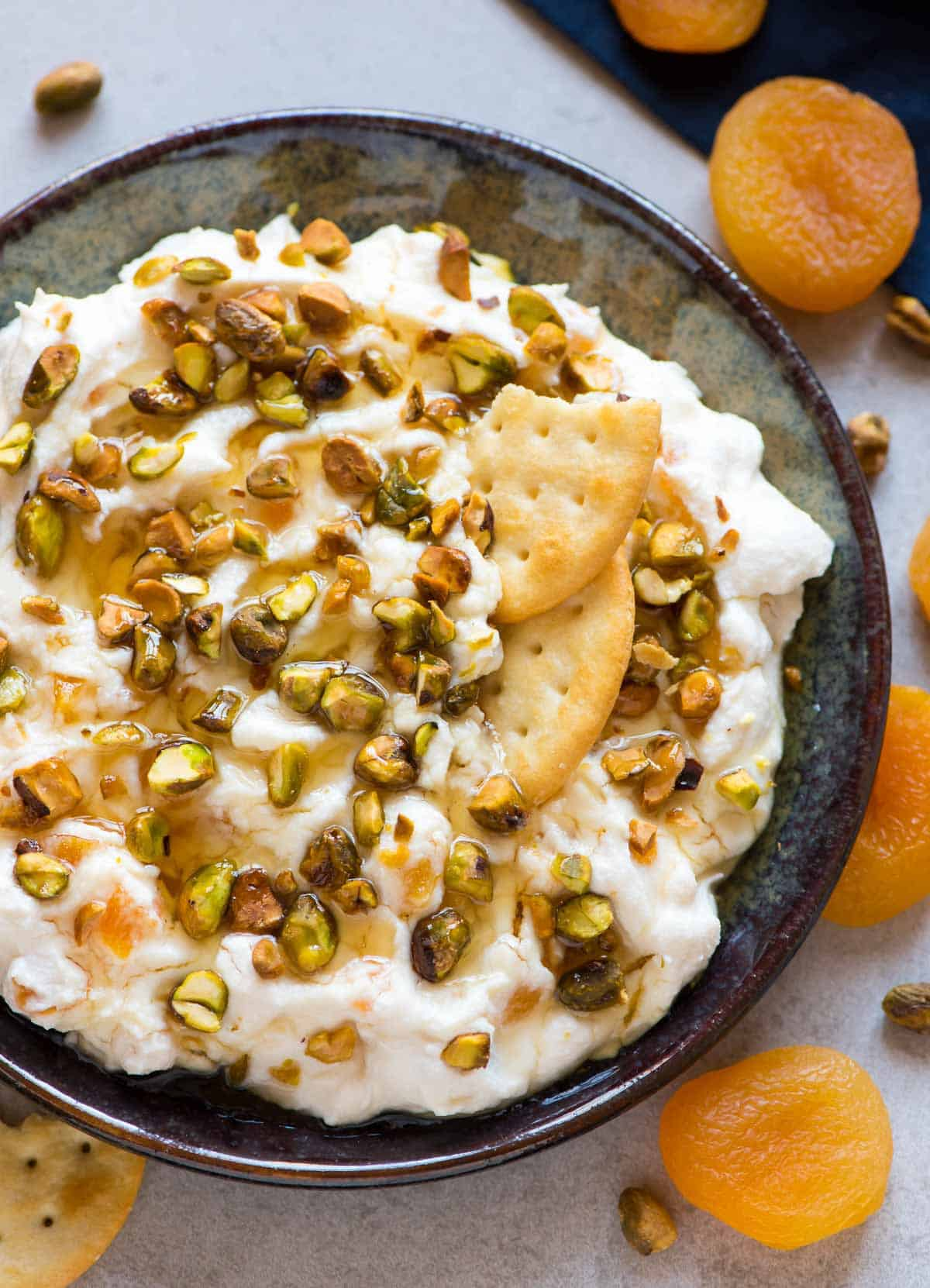 Honey Ricotta Dip With Pistachio And Apricot