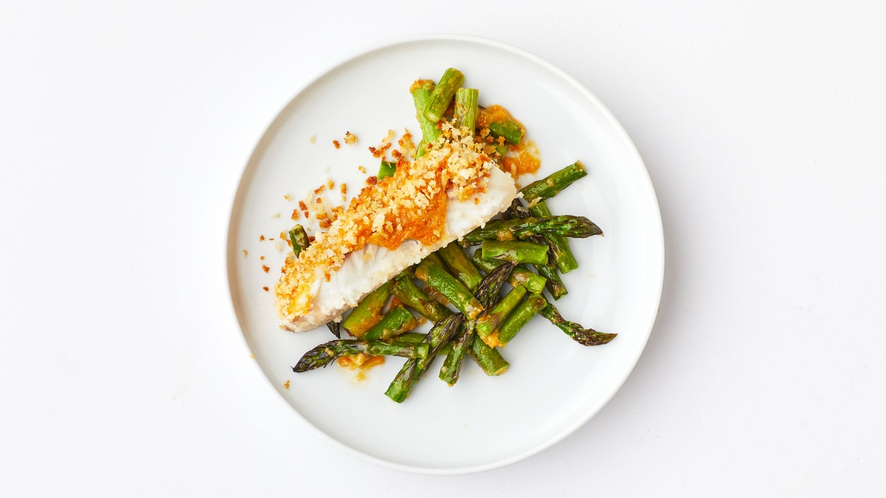 Crispy Miso-Butter Fish With Asparagus
