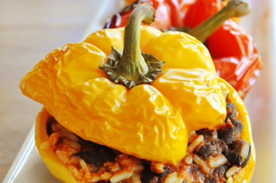 Stuffed Peppers With Black Beans & Rice