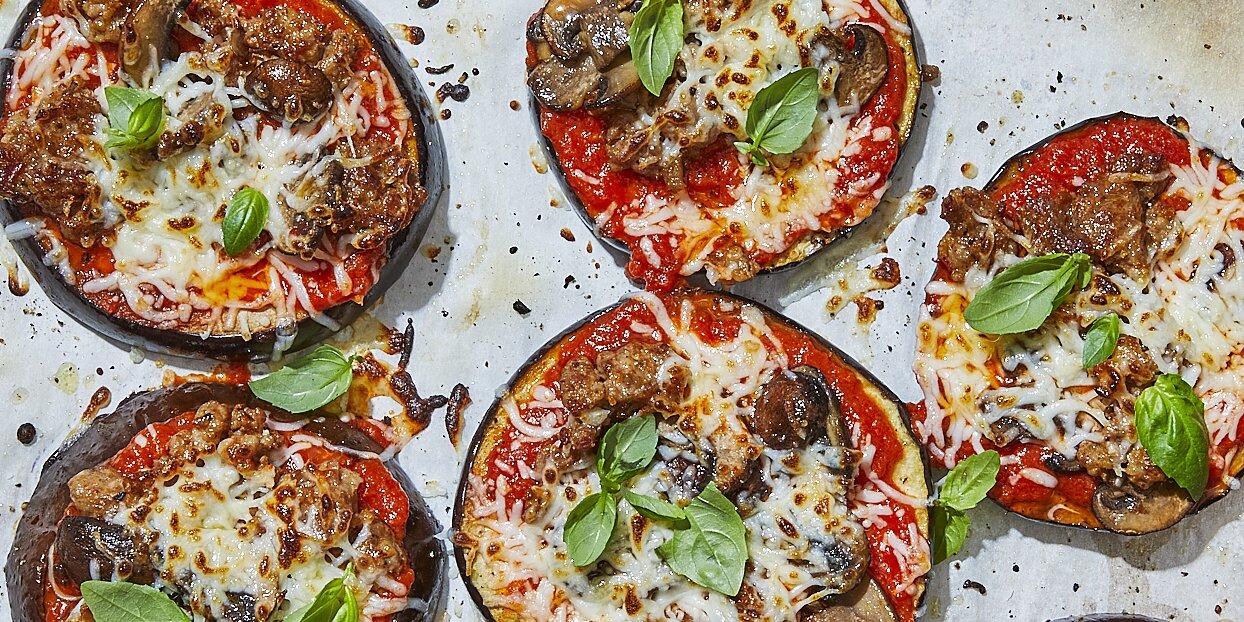 Low-Carb Eggplant Pizzas