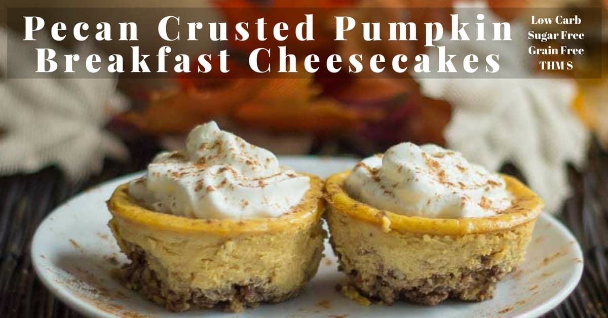 Pecan Crusted Pumpkin Breakfast Cheesecake - Low Carb, Thm S
