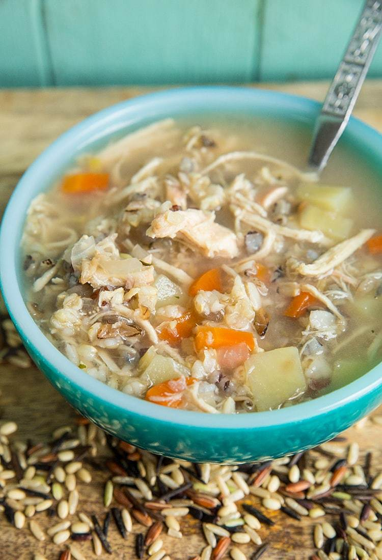 Instant Pot/Slow Cooker Chicken & Wild Rice Soup - No Cream/Milk | The Kitchen Magpie