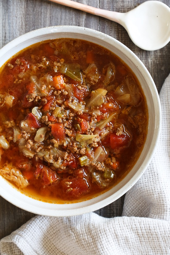 Chunky Beef, Cabbage, & Tomato Soup