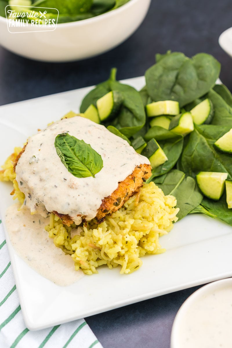 Chicken Breast: Parmesan Crusted In Basil Cream Sauce