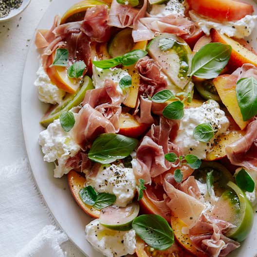 Heirloom Tomato, Peach And Burrata Summer Plate