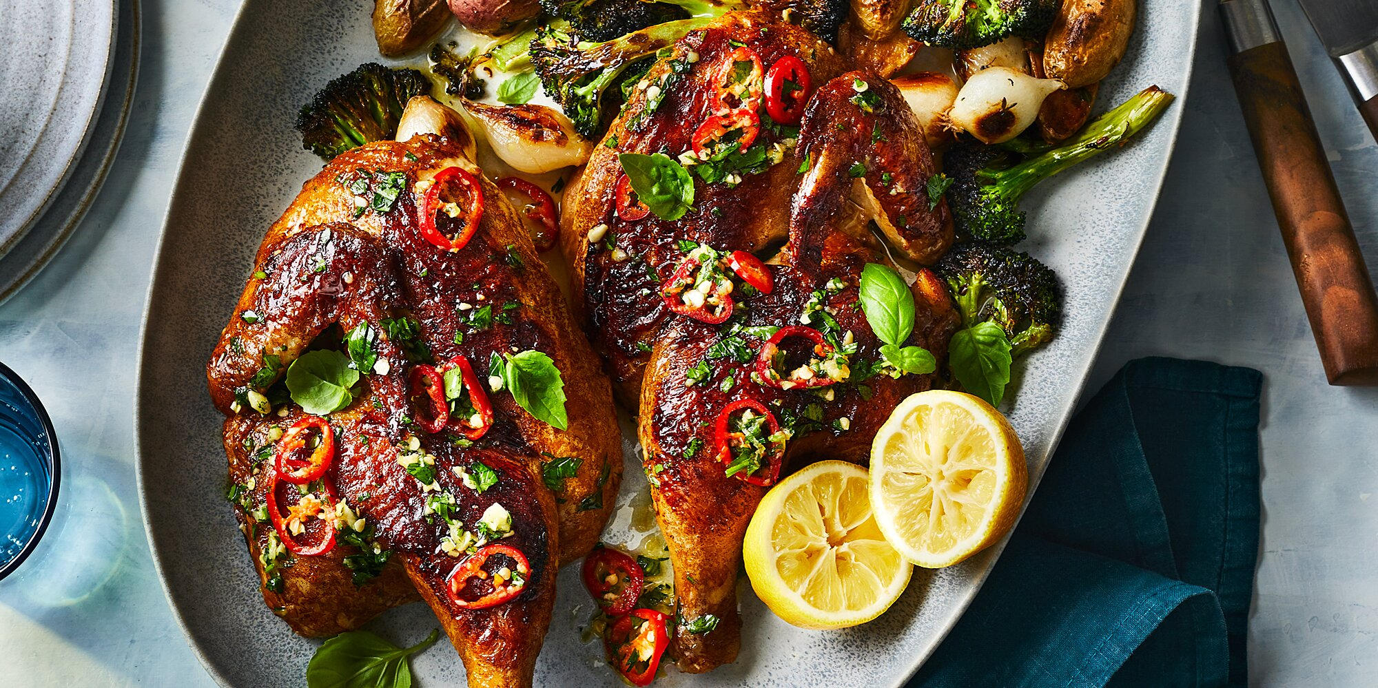Roast Chickenwith Chile-Basil Vinaigrette, Charred Broccoli, and Potatoes