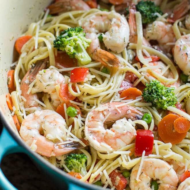 One Pot Shrimp Pasta Primavera