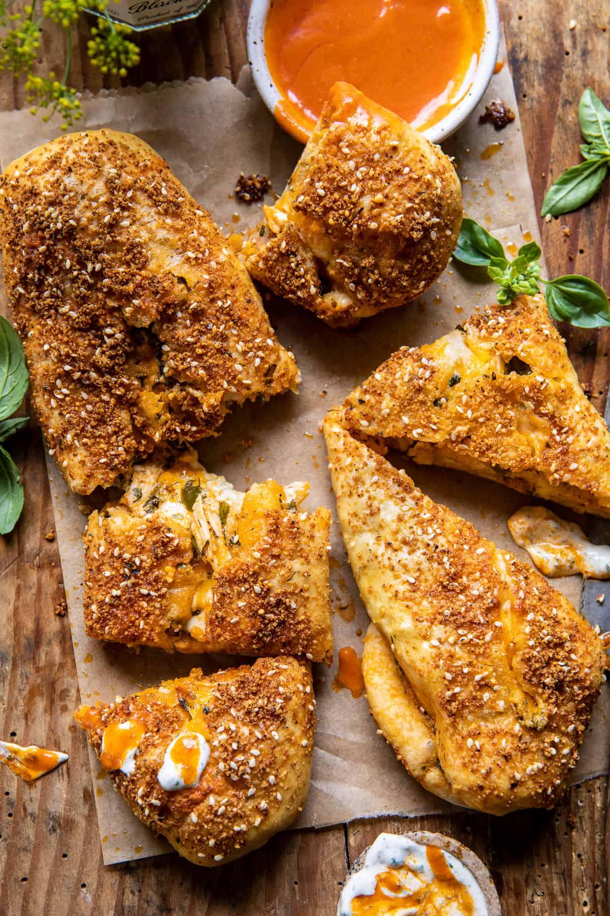 Cheesy Buffalo Chicken Strombolis.