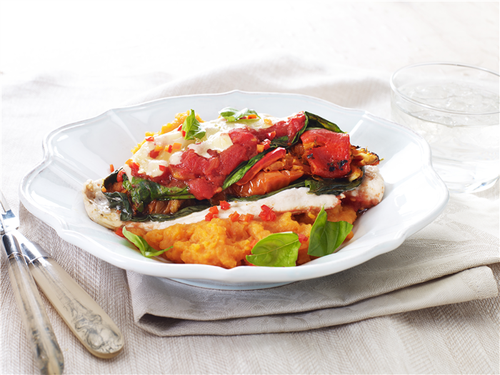 Healthy Baked Chicken Parma With Sweet Potato Mash