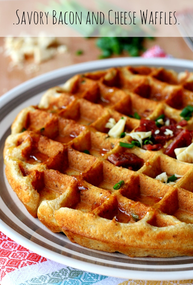 Savory Bacon And Cheese Waffles - Kim's Cravings