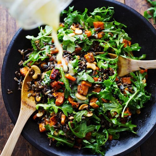 Roasted Sweet Potato, Wild Rice, And Arugula Salad - Pinch Of Yum