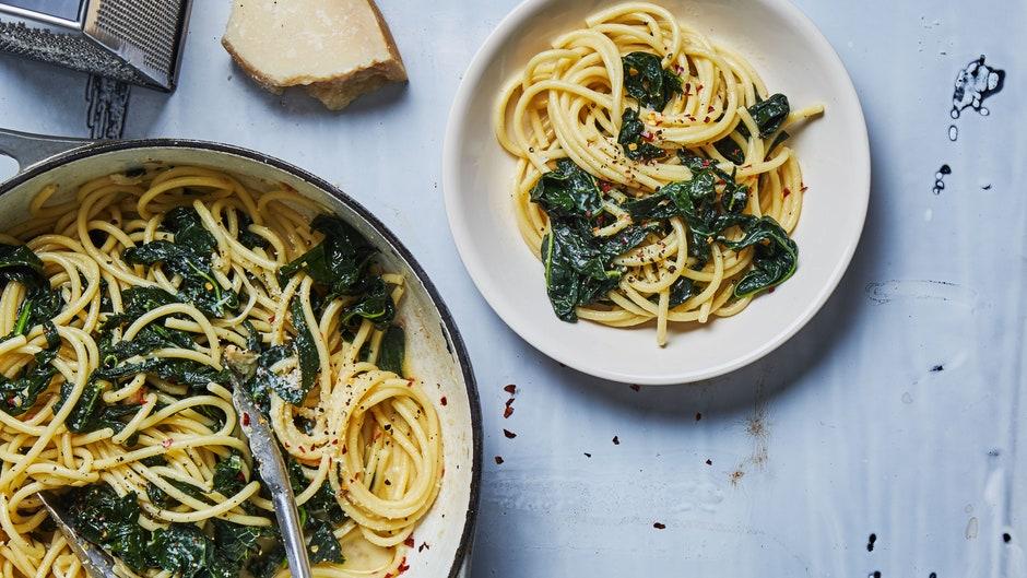 Spaghetti Aglio E Olio With Lots Of Kale