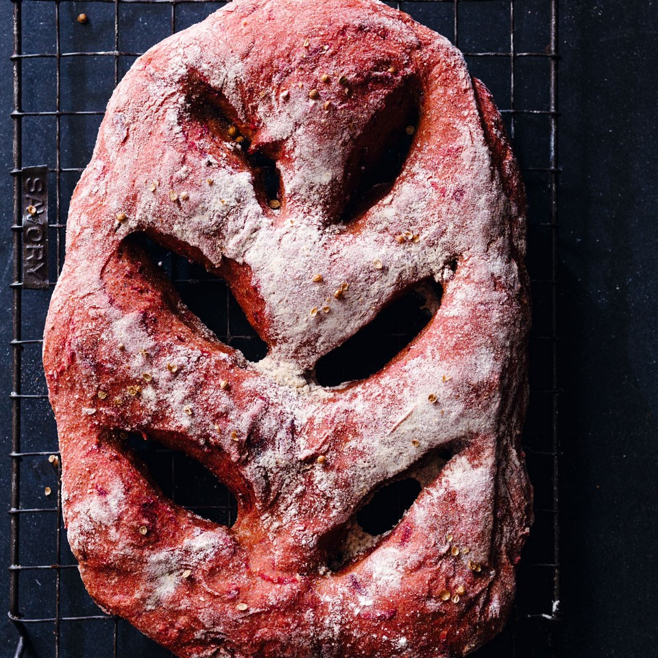 Whole-Wheat Beet Fougasse Recipe