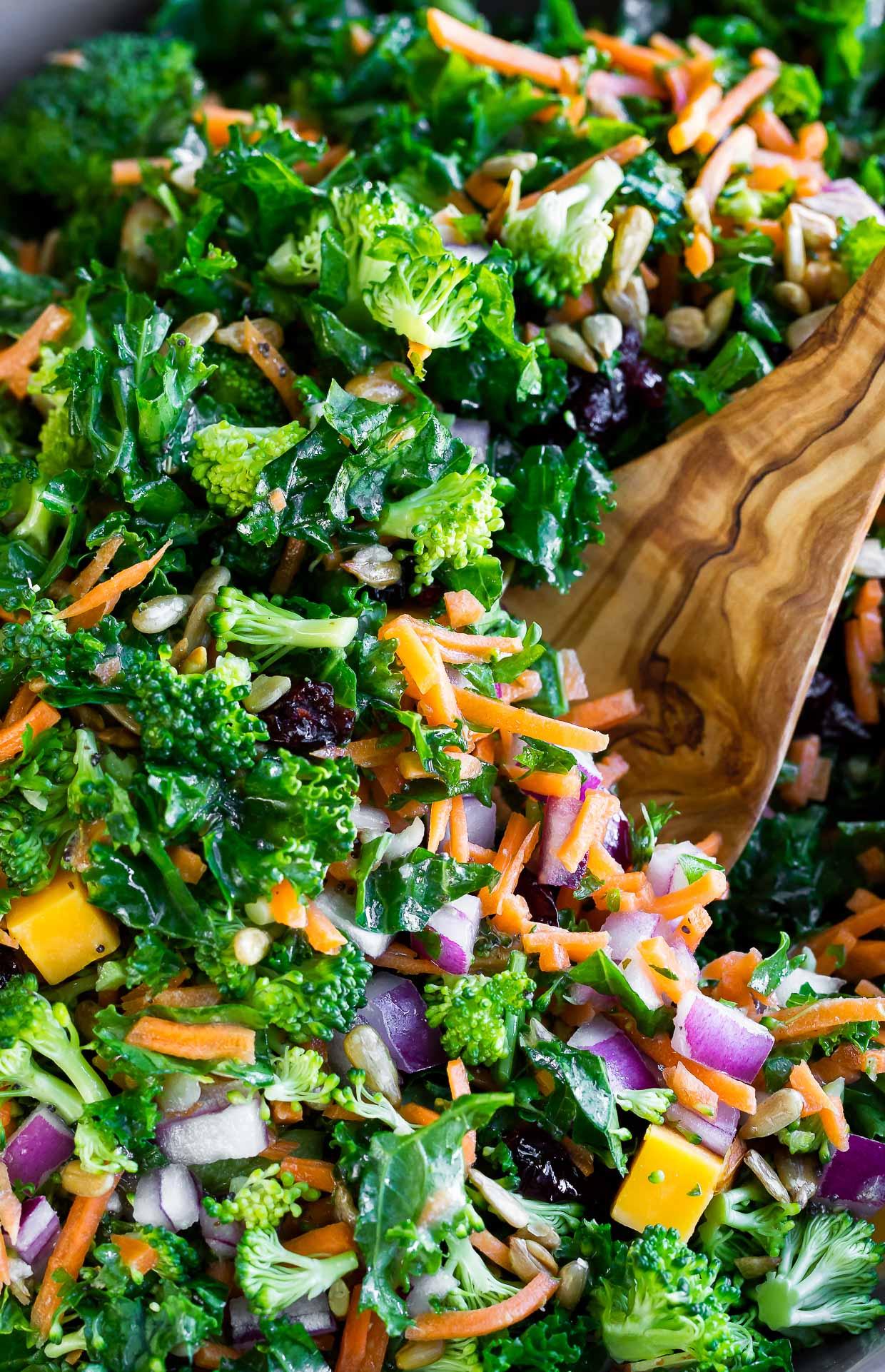 Broccoli Kale Salad with Lemon Dressing - Peas And Crayons Broccoli Kale Salad with Lemon Dressing