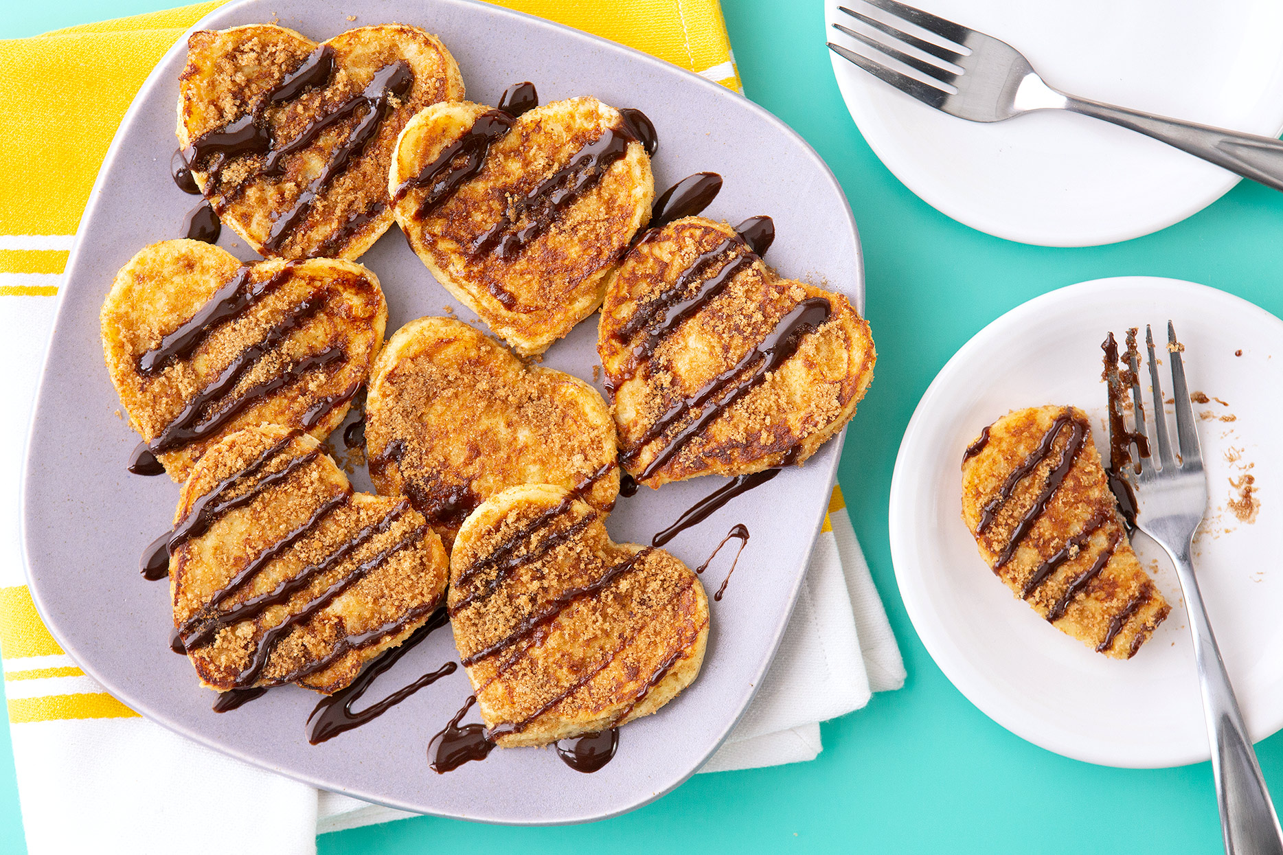 Chocolate-Stuffed Churro French Toast Hearts