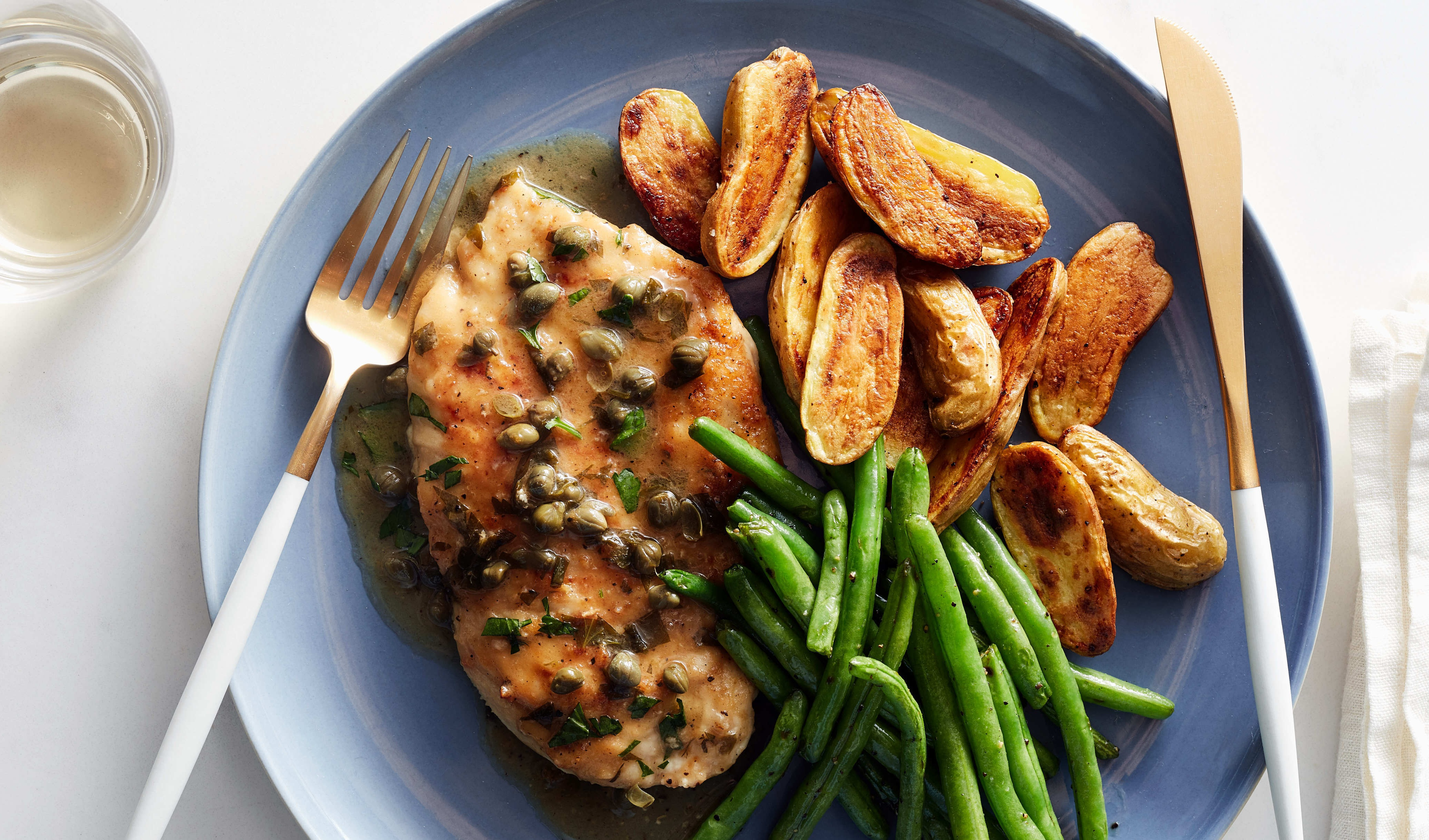Chicken Piccata w/Roasted Fingerling Potatoes and Green Beans