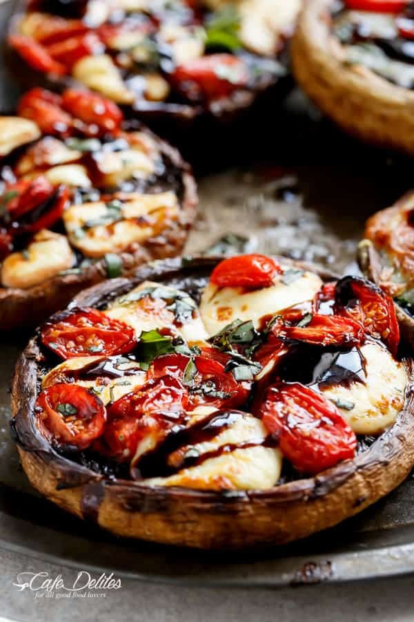 Caprese Stuffed Garlic Butter Portobellos - Cafe Delites
