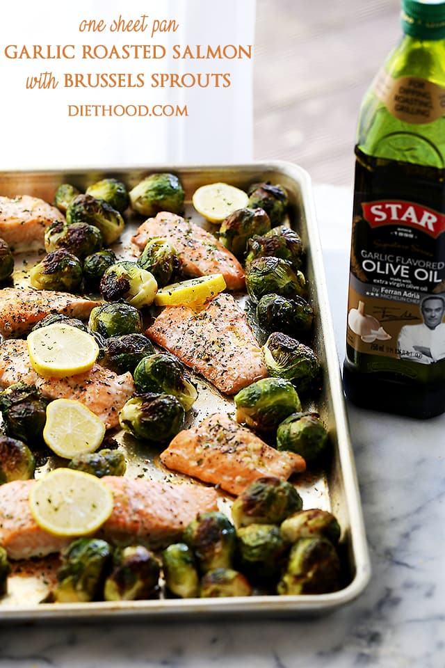 One Sheet Pan Garlic Roasted Salmon With Brussels Sprouts Recipe | Diethood