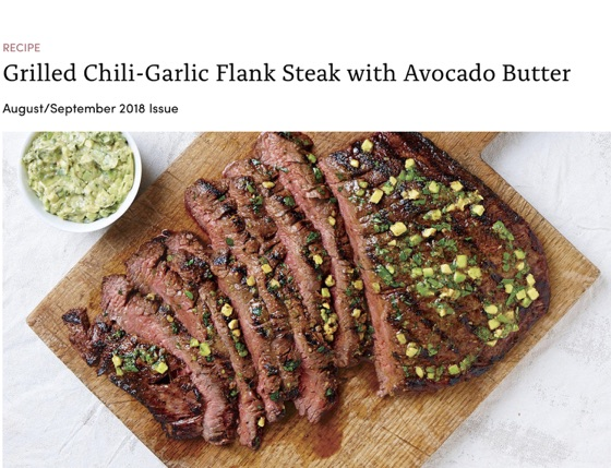 Grilled Chili-Garlic Flank Steak With Avocado Butter - Recipe