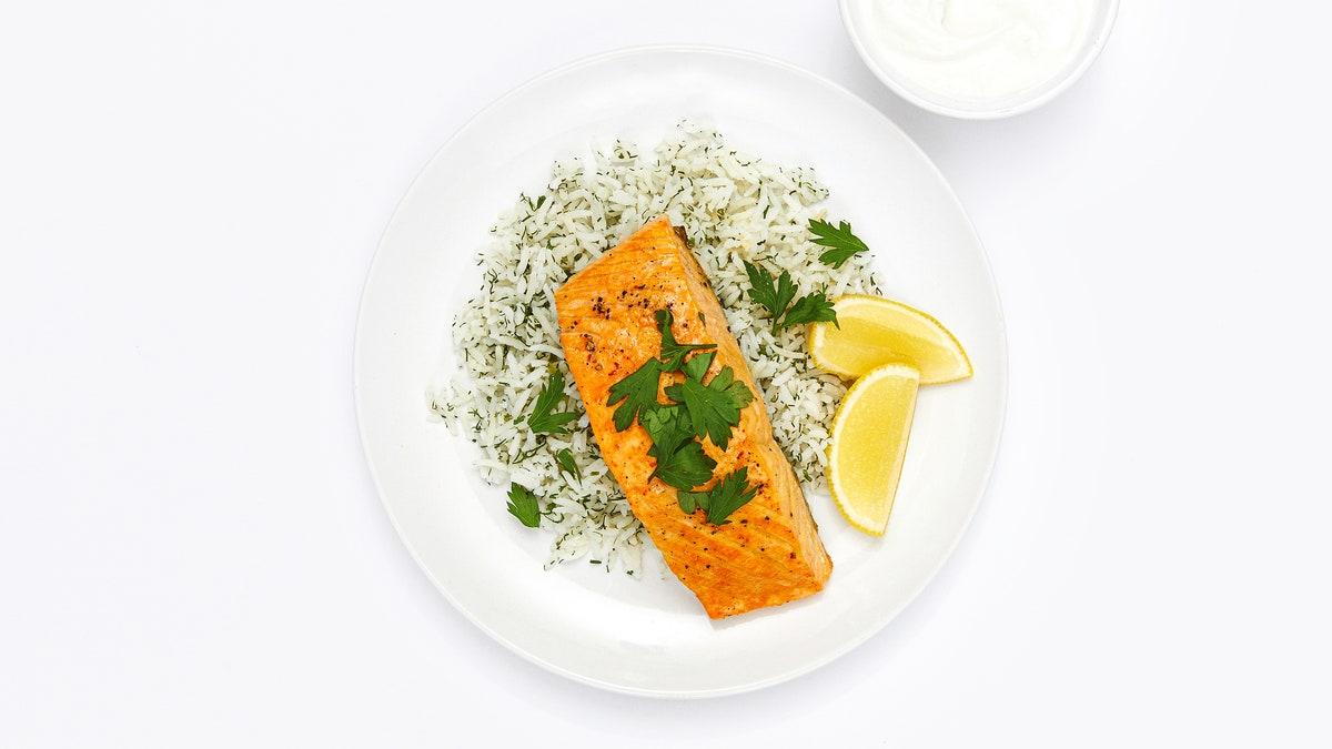 Lemon-Saffron Salmon With Dill Rice