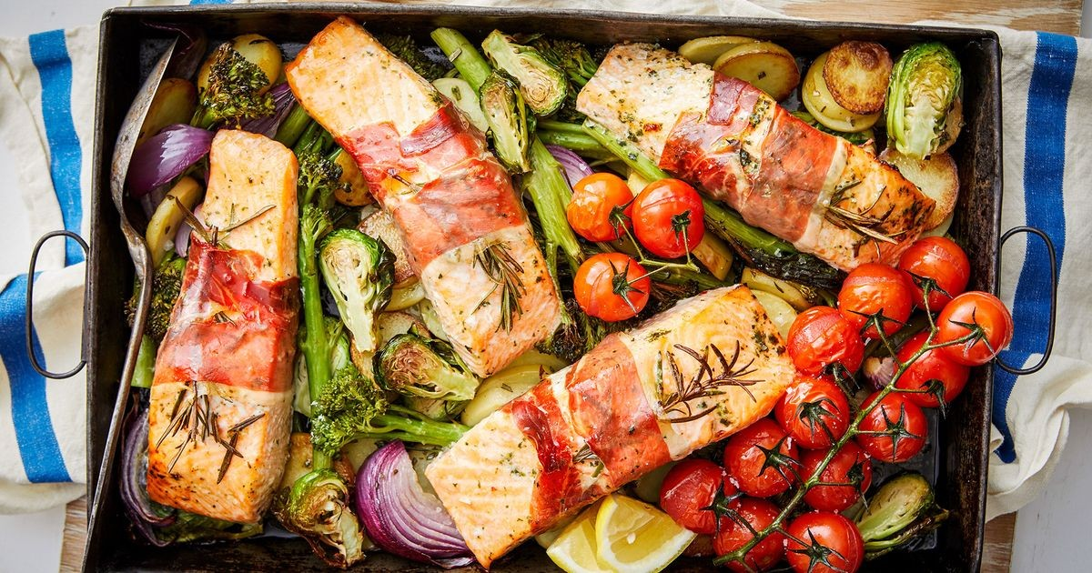 One-pan prosciutto-wrapped salmon