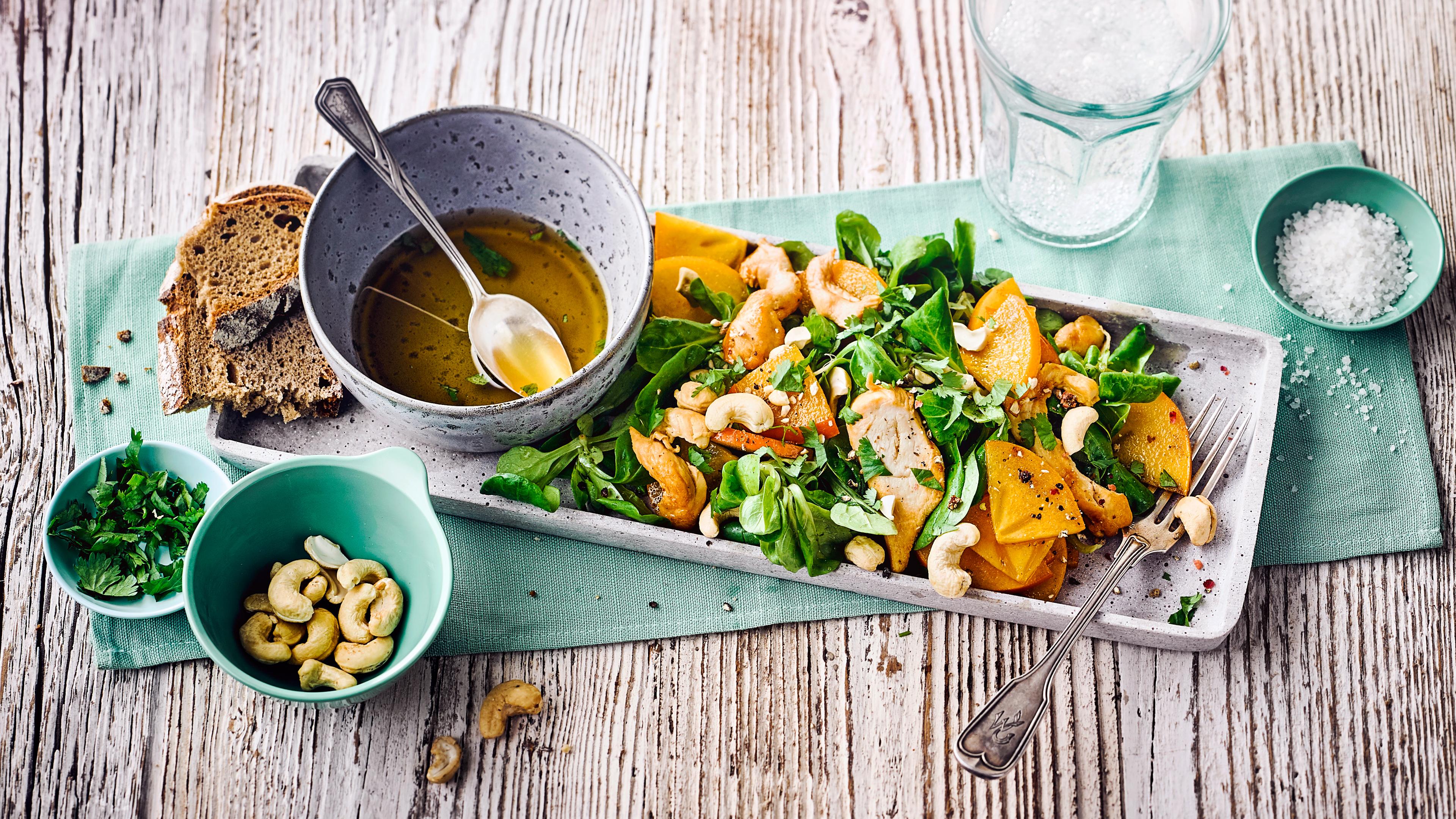 Kaki-Salat Mit Hähnchen - Rezept | Edeka