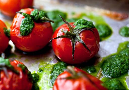 Roasted Cherry Tomatoes With Basil Pesto