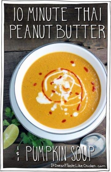 10 Minute Thai Peanut Butter & Pumpkin Soup