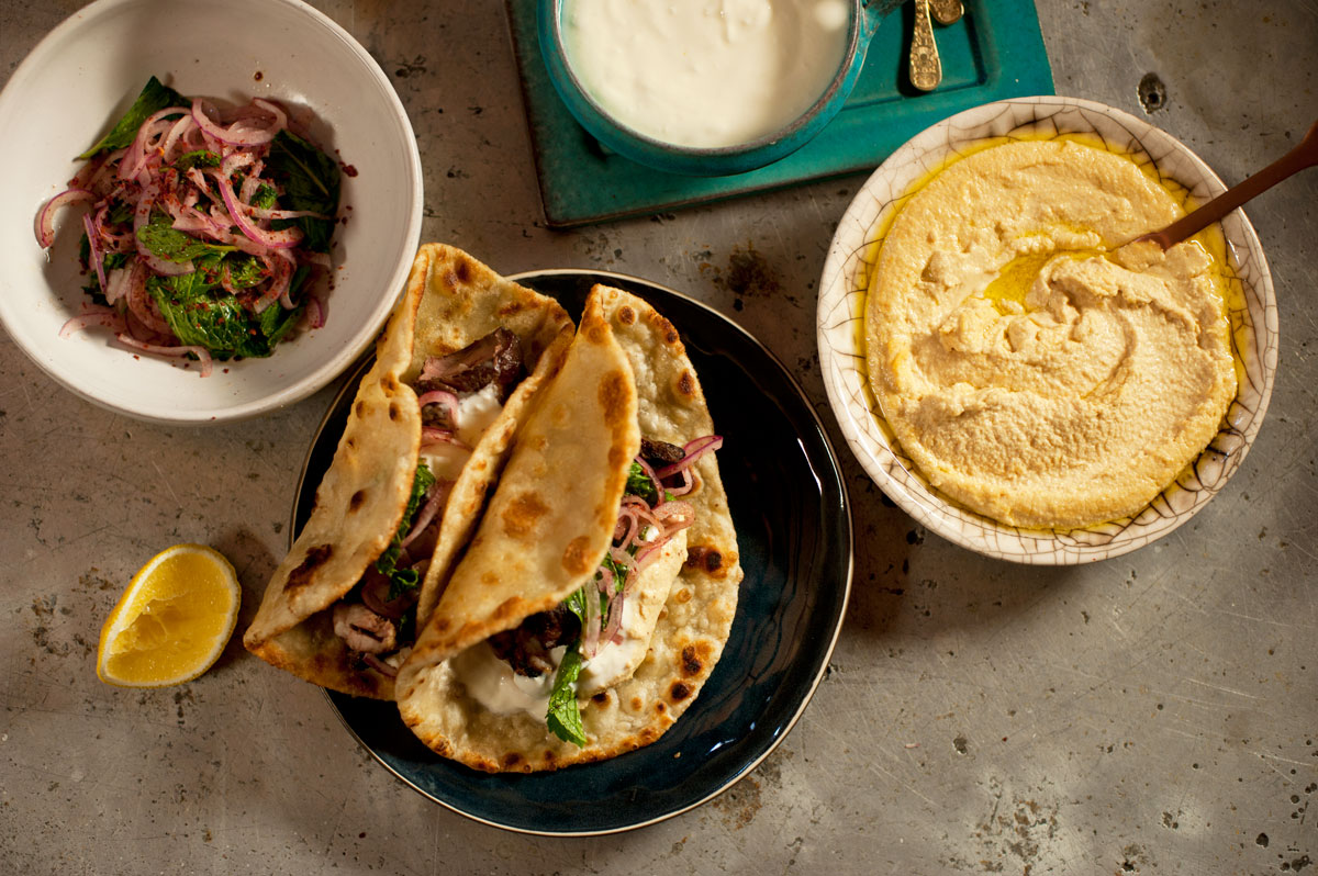 Syrian-Style Hummus , Lamb Kebabs & Red Onion Salad