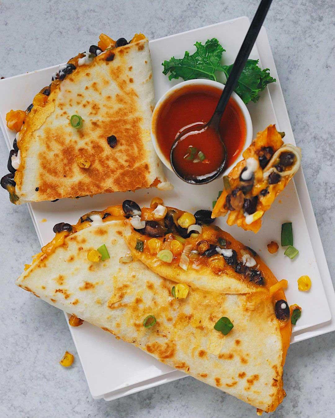 Buffalo Black Bean & Roasted Veggie Quesadillas