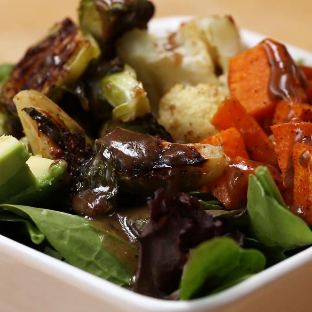One-Pan Roasted Veggie Salad Bowl Recipe By Tasty