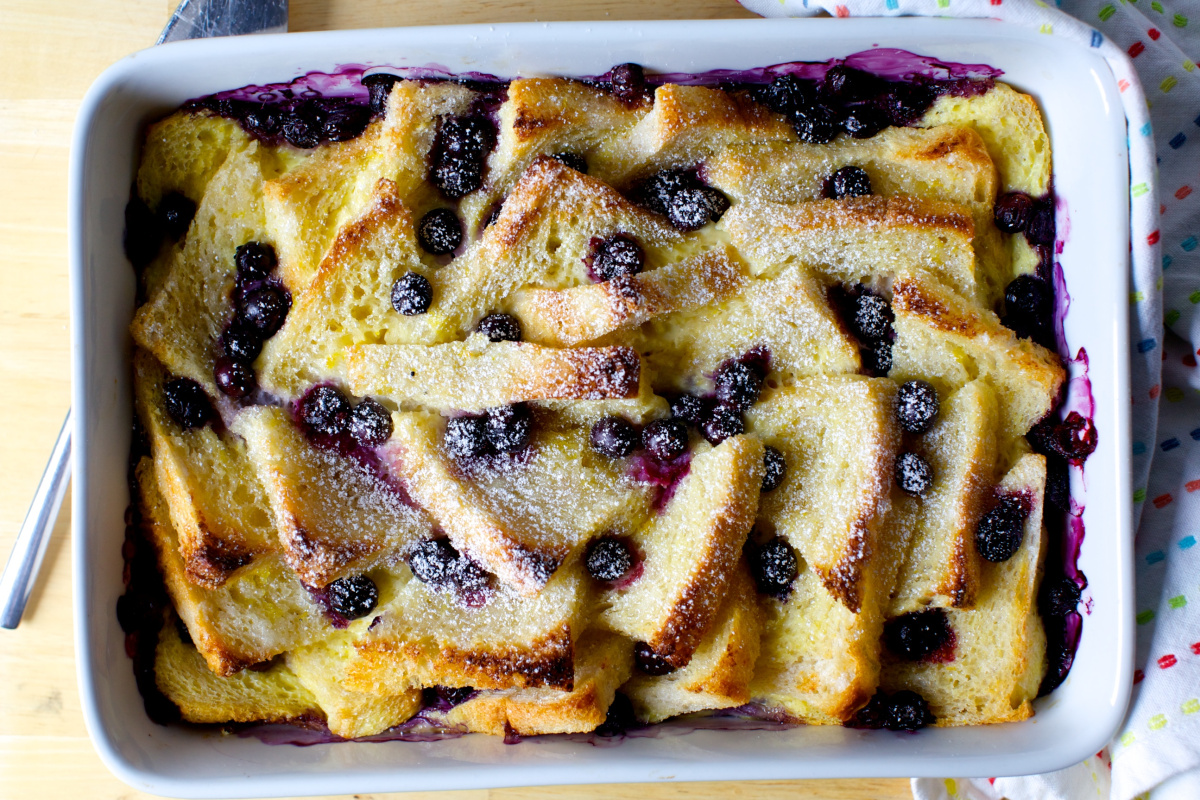 Blueberry Bread And Butter Pudding