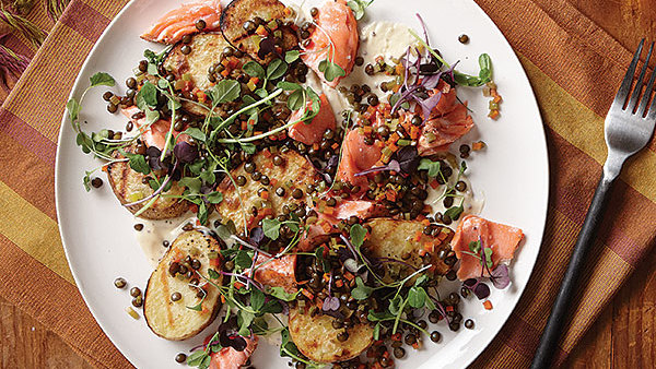 Grilled Potato, Salmon, And Lentil Salad With Mustard Cream Sauce