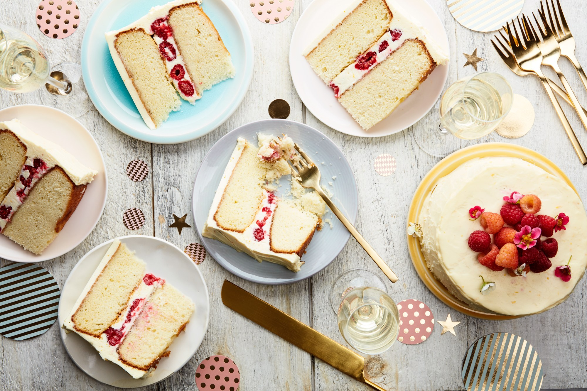 Double-Layer Vanilla-Buttermilk Cake With Raspberries And Orange Cream-Cheese Frosting Recipe