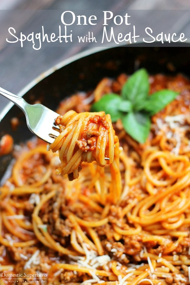 One Pot Spaghetti With Meat Sauce One Pot Spaghetti With Meat Sauce