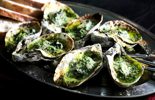 Green Butter Grilled Oysters